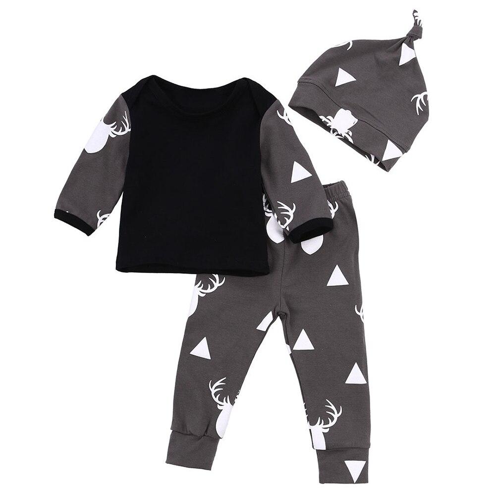 HOT SALE 2pcs Newborn Baby Girl Boy Deer Tops T-shirt+Leggings Hat Outfits Pajamas Set, 0-6 Months