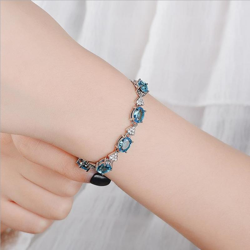 Everoyal New Fashion Women Silver 925 Bracelets Jewelry Lady Vintage Crystal Oval Bracelets Gold Accessories For Girls Bijou in Charm Bracelets from Jewelry Accessories