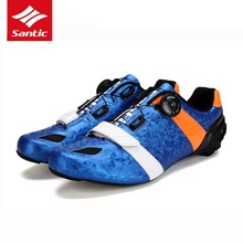 Santic Cycling Shoes Men Road Bike Shoes Carbon Fiber Sole Breathable Ultralight Bicycle Sneakers 3 Bolts SPD-SL Compatible