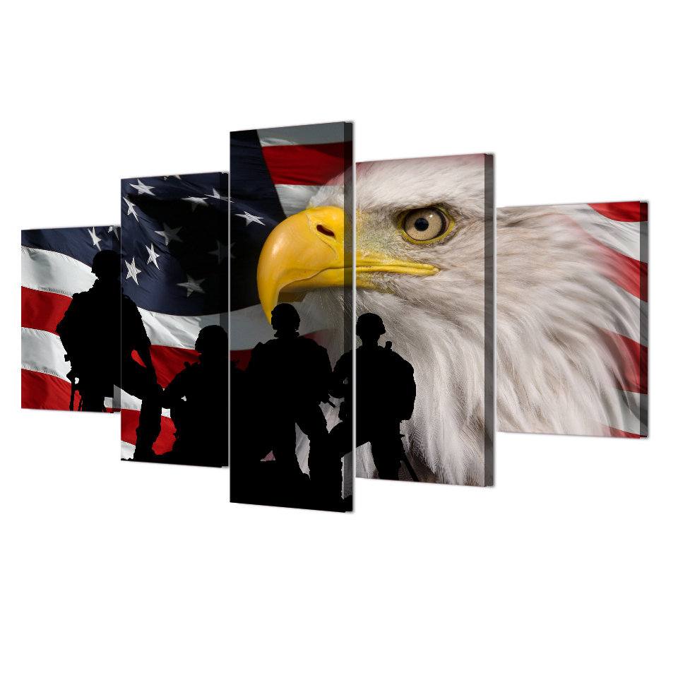 5 Teile/satz Gerahmte HD Printed Rustikale USA Flagge Adler Bild ...
