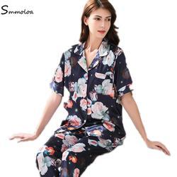 Smmoloa шелковые атласные пижамные комплекты летние сексуальные шелковые пижамы с цветочным принтом