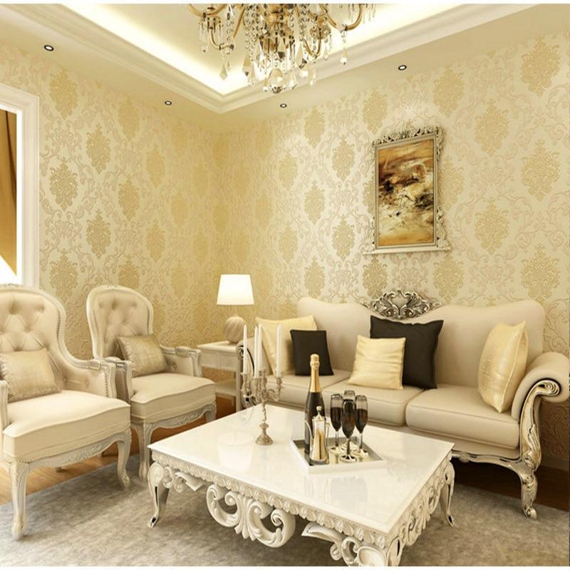 Us 2966 28 Off3d Wallpapers European Luxury Floral Wallpaper Roll Embossed Gold Wallpaper Living Room Wallpaper Roll Desktop Decor Wall Paper In