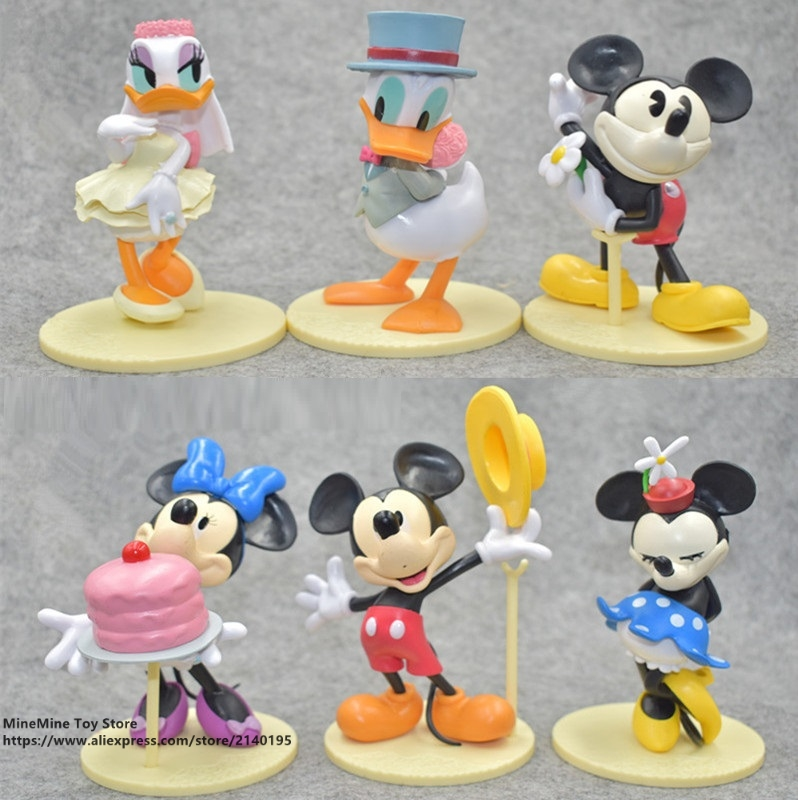 ZXZ Mickey Mouse Minnie 6pcs/set 12cm Action Figure Posture Anime Decoration Collection Figurine Toy model for children gift 6pcs set turtle action figure doll toy super warrior turtle and mouse teacher turban turtle mini figurine deco for home