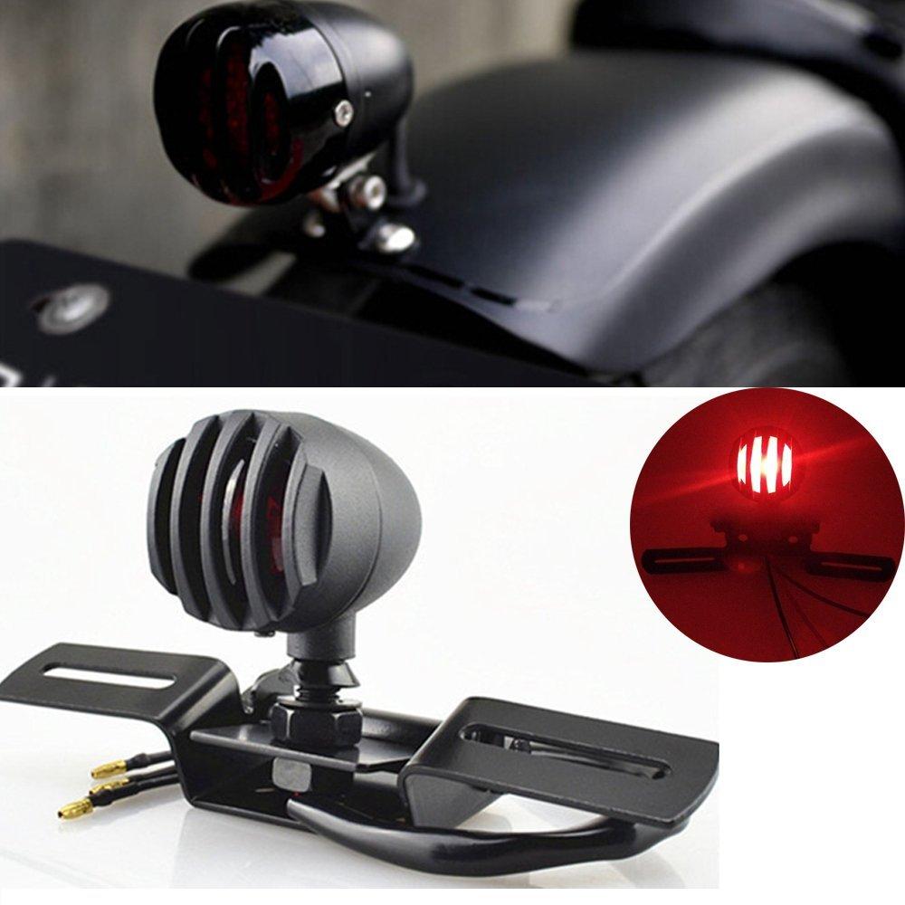 1vnt. 12V 10W motociklų uodegos stabdymo licencijos stabdžių šviestuvas Chopper Bobber Cafe Racer, Bullet Steel Housing Motos Light