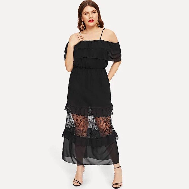 Western Style Plus sized Clothing Adult Women Slip dress 2019 Summer Long Dress Lace Patchwork Oversized Long Casual Dress L 4XL
