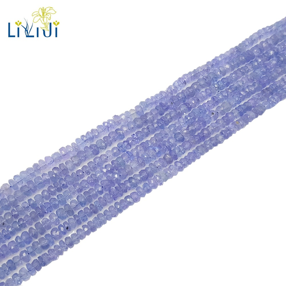 Lii Ji Natural Real Tanzanite Flat Round Shape Faceted beads 1 2mmx3 4mm DIY Jewelry Making