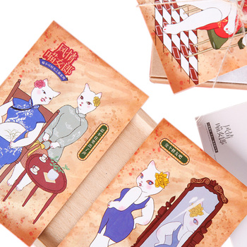 6pack/lot Vintage Beautiful White Cat Animals Bookmark Paper Cartoon Bookmark Promotional Gift Film Bookmark Gift for Girl фото