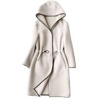 Real Fur Coat Sheep Shearing Fur Lamb Fur Coats 2018 Winter Coat Women Wool Jacket Hooded Tops PU Lining Long Korean Tops Z600