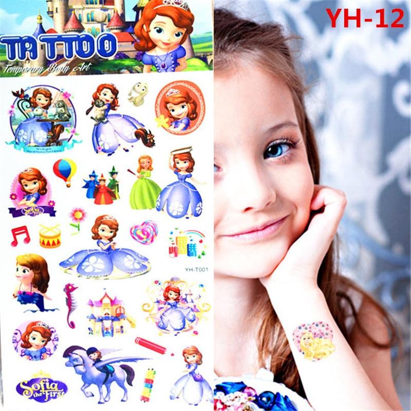 Cartoon princess sofia the first tattoo sticker cuddly for Sofia the first tattoos