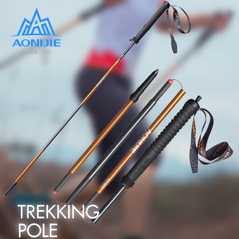 AONIJIE 2 pièces/paire m-pole pliant bâtons de randonnée en Fiber de carbone ultraléger verrouillage rapide bâton de marche randonnée en cours d'exécution