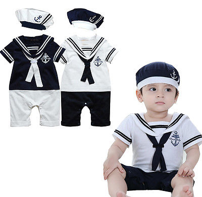 2017 NEW Baby Boy Girl Sailor Costume Suit Grow Outfit Romper Pants Clothes+HAT 0 24M-in Rompers from Mother u0026 Kids on Aliexpress.com | Alibaba Group  sc 1 st  AliExpress.com & 2017 NEW Baby Boy Girl Sailor Costume Suit Grow Outfit Romper Pants ...