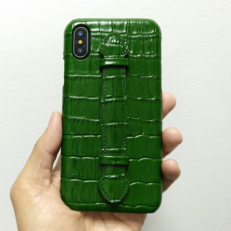 Solque Genuine Leather Ultra Thin Case For iPhone X XS Max 7 8 Plus Cell Phone Luxury Crocodile Hand Strap Slim Hard Cover Cases
