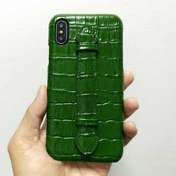 Solque Genuine Leather Ultra Thin Case For iPhone X XS Max 7 8 Plus Cell Phone Luxury Crocodile Hand Strap Slim Hard Cover Cases - DISCOUNT ITEM  14% OFF All Category