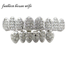 Fashion House Wife Copper Silver Hip Hop Bling Teeth Grillz Caps Top & Bottom Full Shiny Rhinestone Tooth Socket NL0072