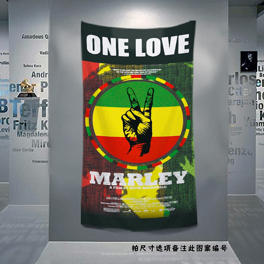 Bob marley retro poster jamaican reggae rock music flag banner tapestry wall sticker bar cafe bedroom background decor cloth in flags banners accessories