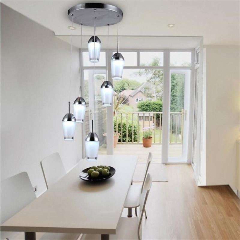 Modern Simple Acrylic Restaurant Pendant Lamp Creative Six Heads Led Chandelier Bar Dining Chandelier Lighting Fixtures wecus free shipping restaurant bar cafe pendant lamp creative coins led acrylic pendant lamp 1 heads 9w