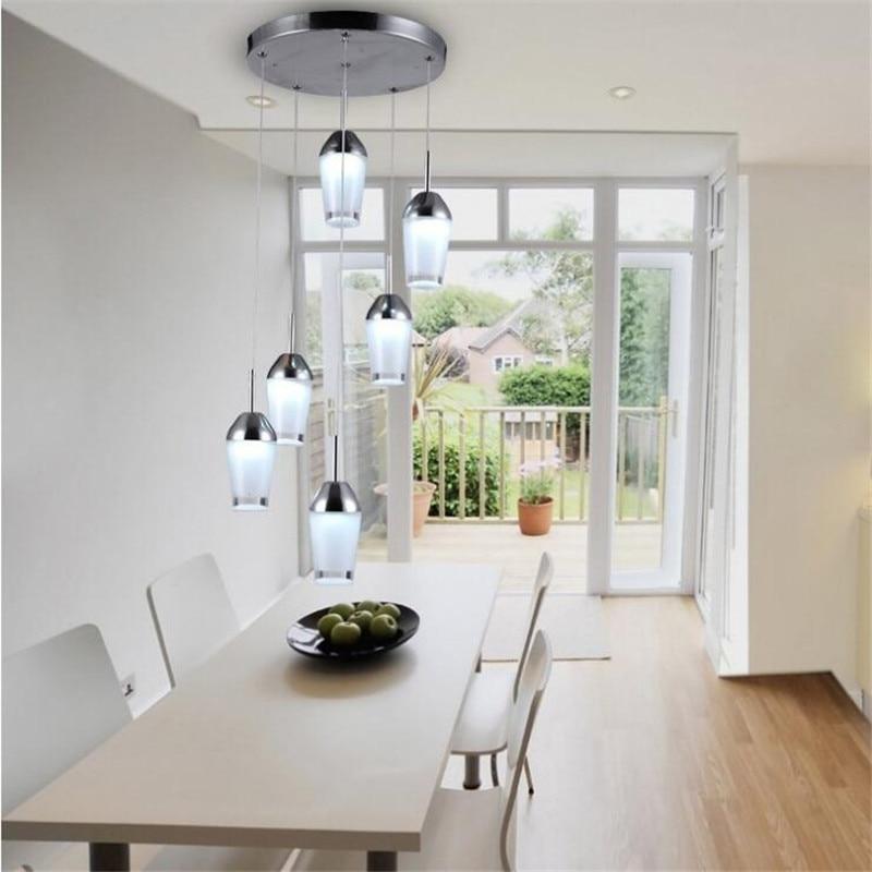 Здесь продается  Modern Simple Acrylic Restaurant Pendant Lamp Creative Six Heads Led Chandelier Bar Dining Chandelier Lighting Fixtures  Свет и освещение