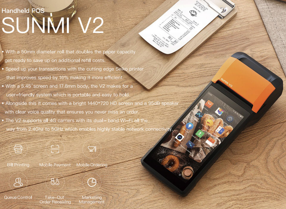 JEPOD JP-V2 Sunmi POS Receipt Printer 58mm Touch Screen PDA Mobile Android  Handheld POS terminal with PDA WIFI Bluetooth 4G Support OTG