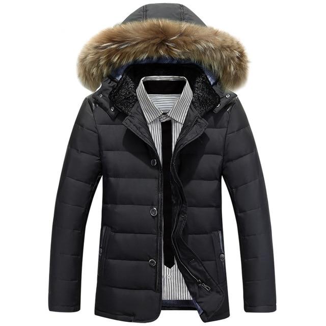 Novos homens jaqueta de inverno quente pato branco para baixo casacos gola de pele dos homens grosso casaco Parkas casuais grande tamanho XXL