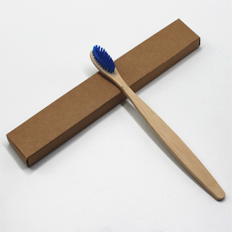 1PC Blue Head Bamboo Toothbrush Wholesale Environment Wooden Blue Bamboo Toothbrush Oral Care Soft Bristle
