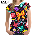 FORUDESIGNS 2017 Women Basic T-shirts Short Sleeved Casual Women's Tshirts 3D Butterfly Pattern Tops Tee Lady Stretch T-shirt