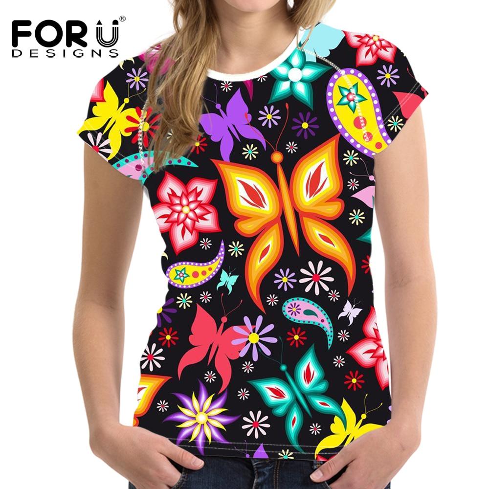 FORUDESIGNS 2018 Dámská základní trička s krátkým rukávem, příležitostná dámská trička, 3D motýlkový vzor, tričko Tee Lady, strečové tričko