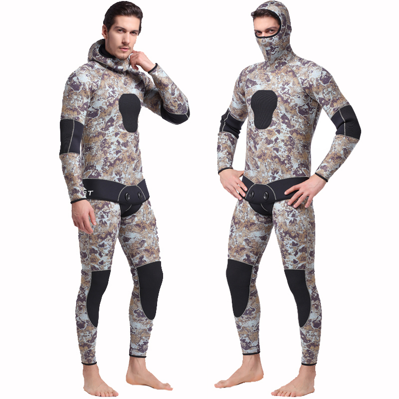 SBART 5MM Two Pieces Split Neoprene Scuba Diving Wetsuit Equipment Keep Warm Full Hooded Zipper Spearfishing Wet Suit For Men J sbart upf50 rashguard 2 bodyboard 1006