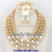 2015 Gold Plated African Jewelry Set Costume Nigerian Weddign African Beads Jewelry Sets Crystal Beads Set Free Shipping AEJ324