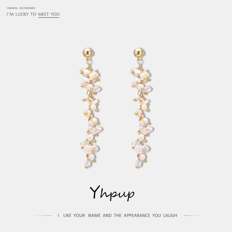Yhpup Trendy Copper Long Chain Dangle Earrings Natural Pearls Exquisite Earring Bijoux 16 K for Women Party dropshipping jewelry