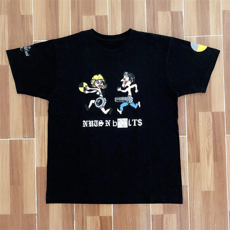 """Asap Rocky Testing """"Nuts n Bolts"""" Tee T shirt hip hop Men Women 1:1 High Quality Summer Style Travis Scott ASTROWORLD T shirt"""