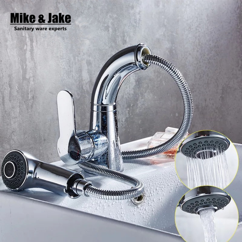 Pull out basin sink tap bathroom faucet with two function