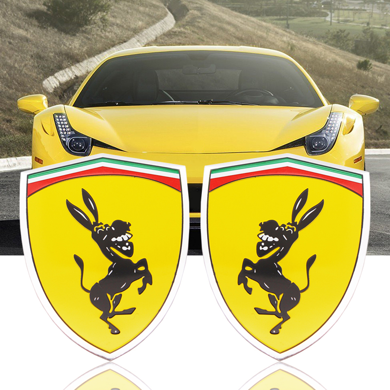 1PCS 3D Aluminum Donkey Logo Car Window Body Sticker Emblem Decal  Wheel Sticker Accessories Fit Funny Prank Sticker For Ferrari