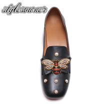 Stylesowner Euramerican Style Luxury with Pearl Woman Flat Shoes High-end Low Heel Round Toe Cow Leather Slip-on Casual Shoes