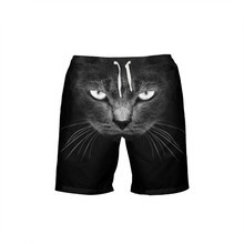 VEEVAN Men Board Shorts Animal Cat 3D Printing Beach Shorts Quick-dry Short