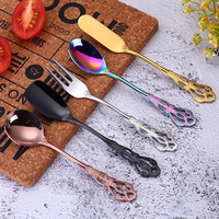 Luxurious Coffee Mixing Spoon Colorful Butter Knife Jam Scoop Cake Fork Retro Holllow Gold Flatware Dessert Tabeware 5pcs/set
