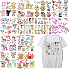 Cartoon Animal Patch Set Iron on Transfer Cute Unicorn Cat Owl Dog Flower Patches for Kids Girl Clothing T-shirt DIY Heat Press