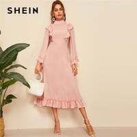 SHEIN Abaya Pink Mock Neck Ruffle Trim High Waist Maxi Dress Women Spring Autumn Solid Fit and Flare Elegant Modest Dresses