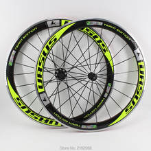 CheckOut Brand New green color 700C Racing Road bike 50mm clincher rims bicycle 3K carbon wheelset with alloy brake surface Free shipping dispense