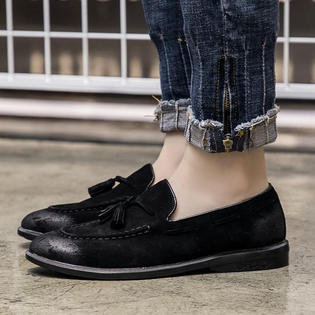 Sapatos Genuíno Moda Casuais on Ervilhas Lazer Preto Da Verão Estilo De brown cinza Homens Borla Slip Britânico Masculinos Respirável Flats Z468 Couro O05Wq