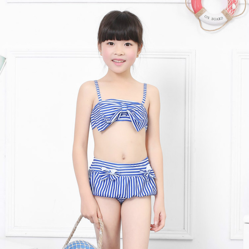 1-5yrs Children Swimwear Toddler Girls Bow Stripe Baby Kids Biquini Infantil Swimsuit Bikini Set Girl New Summer Bathing Suit