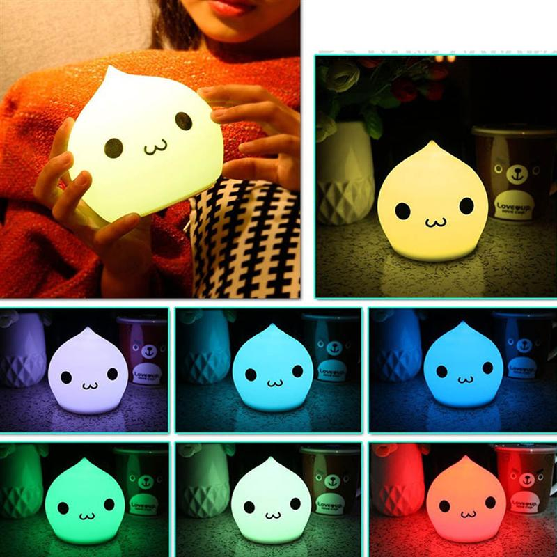 Battery Powered Waterdrop LED Children Night Light 7-Color Silicone Baby Nursery Lamp with Sensitive Tap Control (Cute)