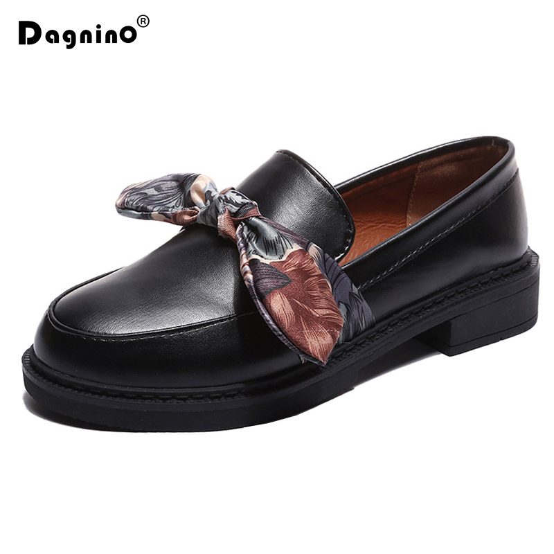 DAGNINO Spring Autumn Women Oxford Single Shoes 2018 New Silk Bow Loafers Soft PU Leather Slip On Low Heels Ladies Casual Shoes sweet loafers women heels shoes for spring women ballet shoes breathable heels shoes autumn shoes orientpostmark