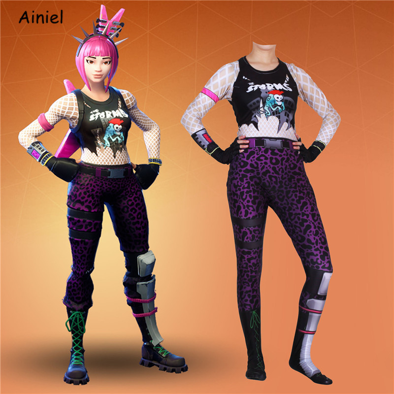 Game Fortnight Power Chord Cosplay Costumes Kids Adult Zentai Bodysuit Suit Jumpsuits Halloween Christmas Costume for Women Kids