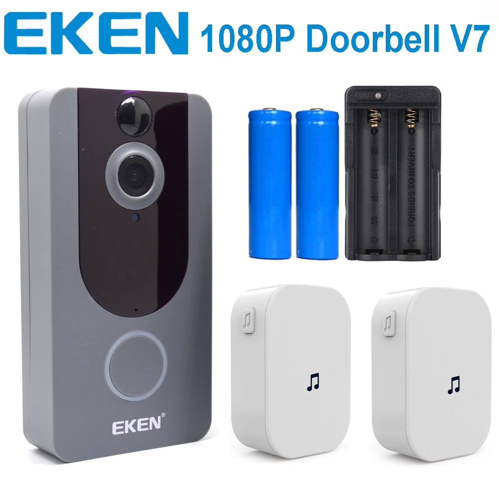 Eken v7 1080 p wifi sem fio vídeo dorbell visual intercom câmera com carrilhão visão noturna pir detecção de movimento app controle