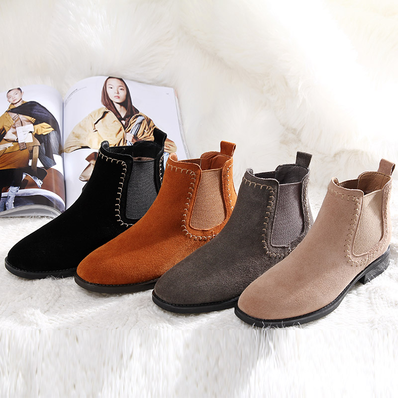 L&T 2018 Warm Fur Women Winter Boots Soft Leather Chelsea Boots Women Round Toe Sewing Ankle Boots for Women Winter Shoes dunlop winter maxx wm01 205 65 r15 t