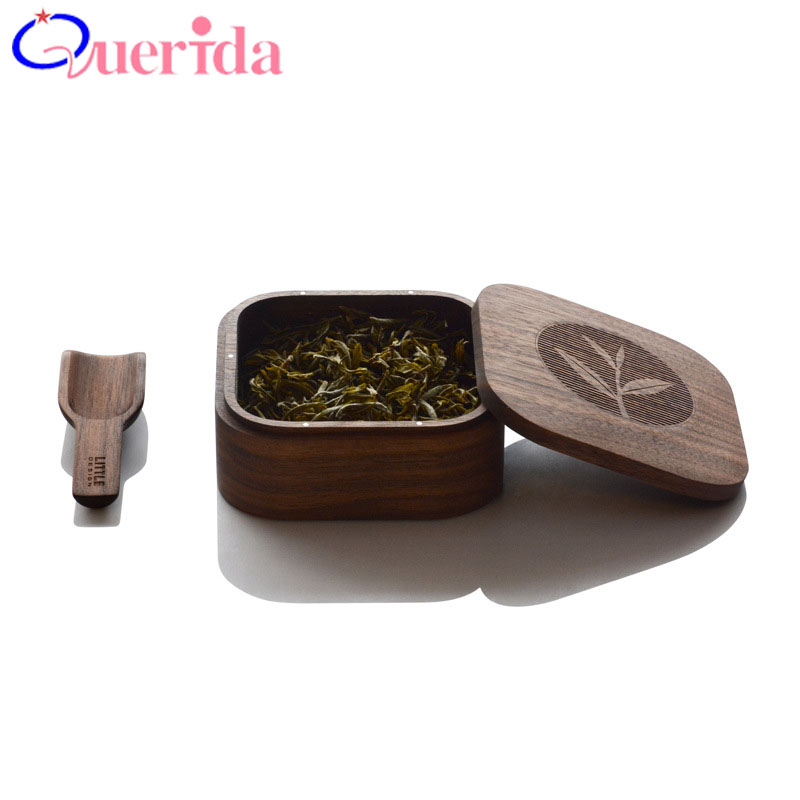Chinese Tea Solid Wood Tea Caddy Bucket Portable Tea Boxes Black Walnut Travel Tea Acces ...