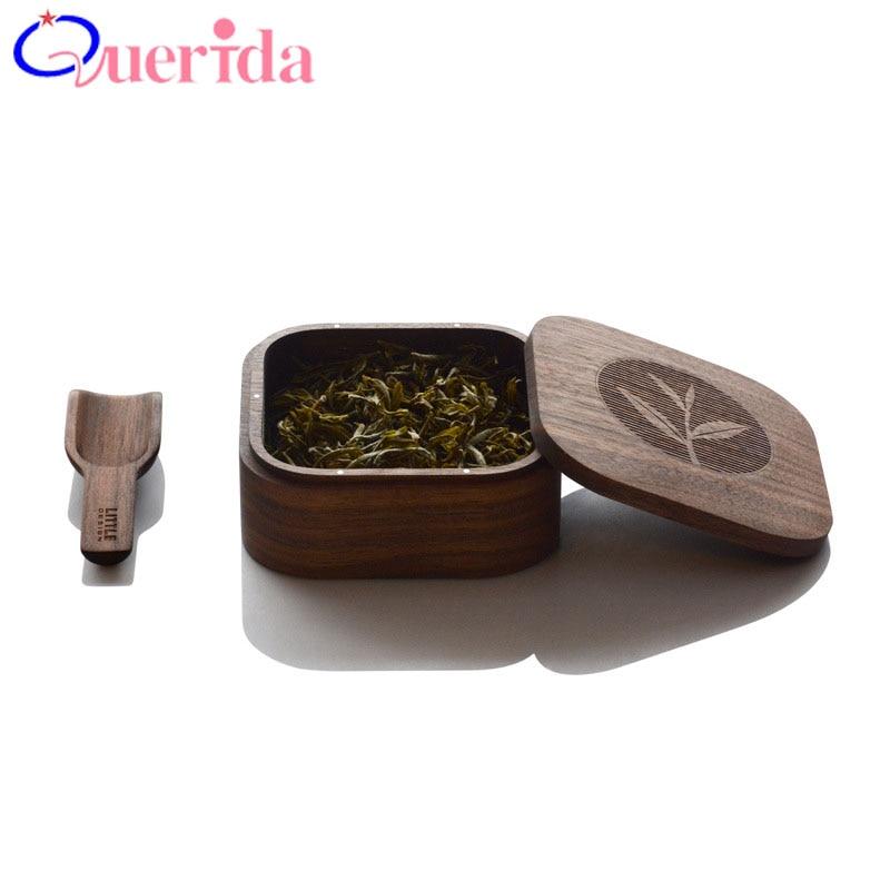 Chinese Tea Solid Wood Tea Caddy Bucket Portable Tea Boxes Black Walnut Travel Tea Acces ...