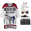 Novo verão Europeu Bonito Da Cópia da Vaca Projeto Solta Longa Blusa das Mulheres Letras Moda Branco Vermelho Maxi Blusa Tops Streetwear NS307