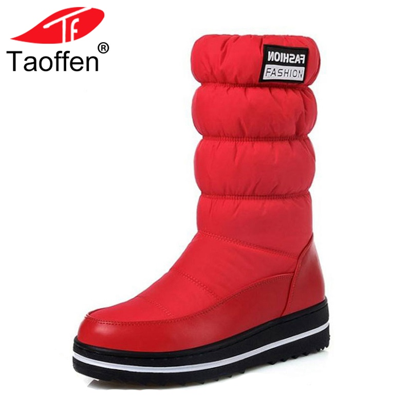 Taoffen Plus Size 35-44 New Snow Boots Women Warm Cotton Down Winter Shoes Woman Short Boots Fur Platform Ladies Mid Calf Boots цена
