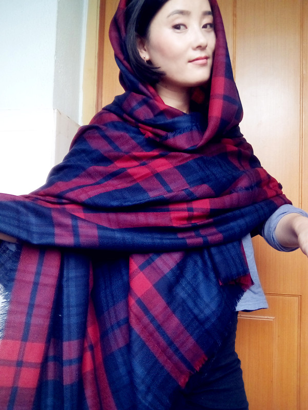 2015 new fashion women scarf super long large font b tartan b font scarf 3 colors